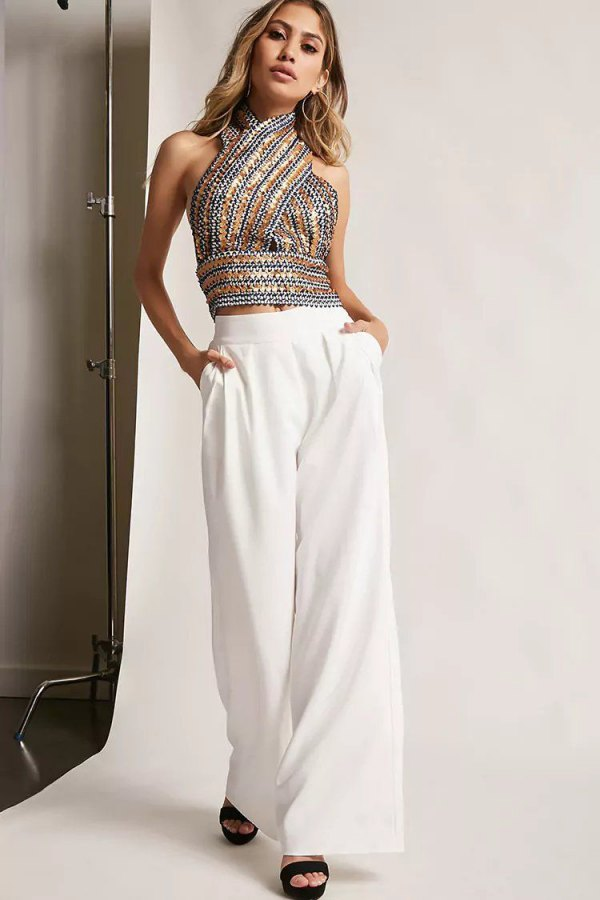 a4678f6d2a6485 Best 15 Sequin Halter Top Outfit Ideas: Style Guide for Cocktail Parties