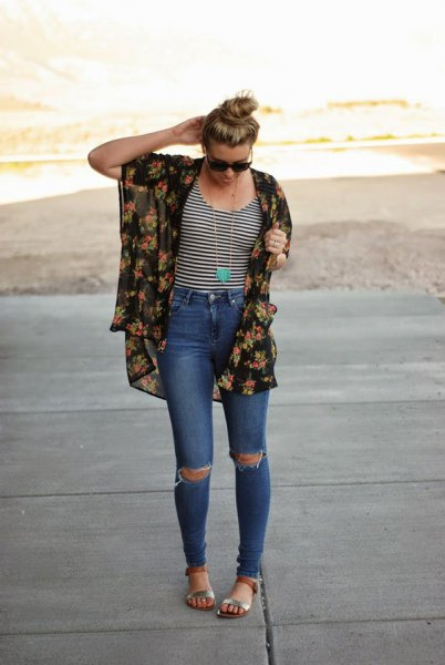 black and blush pink floral printed chiffon kimono cardigan with blue jeans