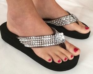 black and silver sequin wedge flip flops with mini shift dress