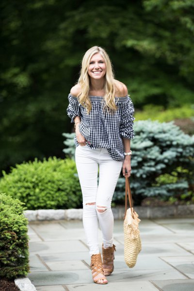 black and white checkered off the shoulder top with strappy sandals
