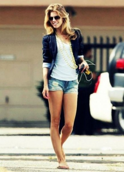 black blazer with white scoop neck tank top with denim mini summer shorts