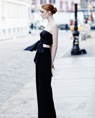 black cropped knotted going out top with wide leg pants