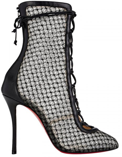 black heeled lace ankle boots with leather dress