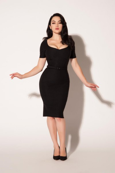 black low cut knee length bodycon dress with leather heels