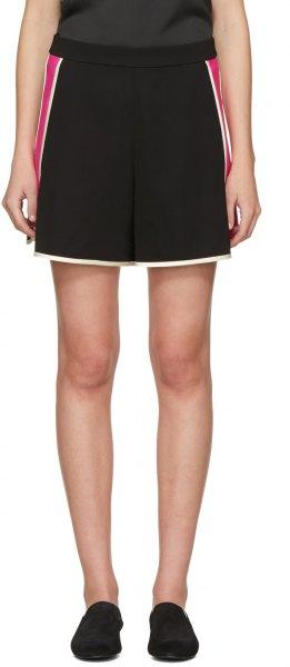 black sleeveless top with high rise mini flowy sweat shorts