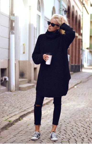 black sweater dress with ripped cropped skinny jeans