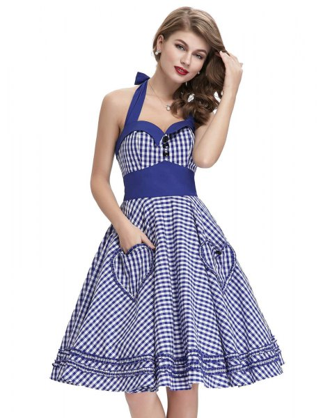blue and white halter neck fit and flare sweetheart neckline dress