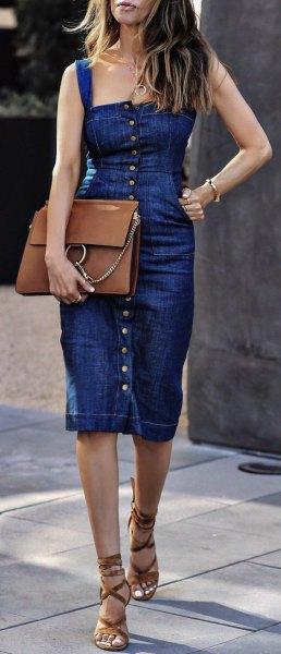 blue denim sheath knee length button front dress with brown handbag