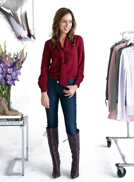 burgundy bow tie slim fit blouse with dark blue skinny jeans