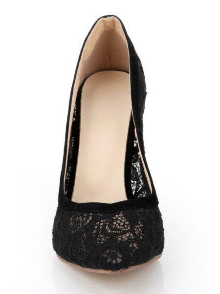cotton mini shift dress with black lace ballet heels