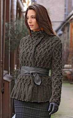 grey cable knit wrap jacket with plaid pencil skirt