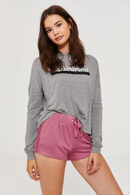 grey graphic sweat shirt with blush pink high waisted sweatshorts