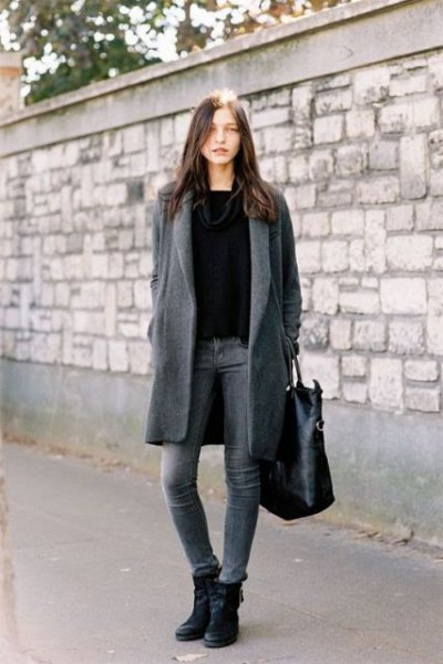 grey long wool coat with black sweater and leather ankle boots