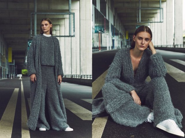 grey maxi ribbed chunky cardigan with matching top and pants