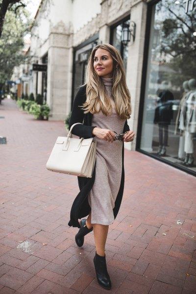 grey midi sweater dress with black longline cardigan