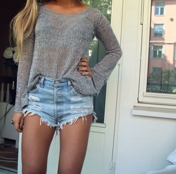 grey relaxed fit scoop neck sweater with light blue denim distressed shorts