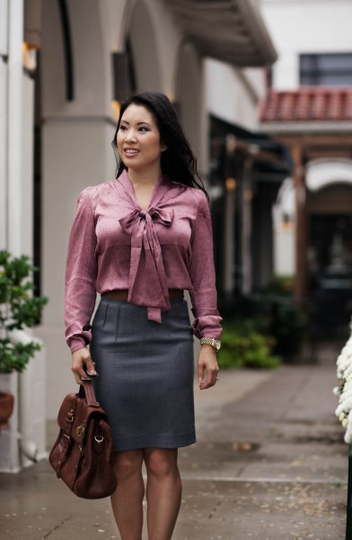 grey tie front blouse with matching pencil skirt