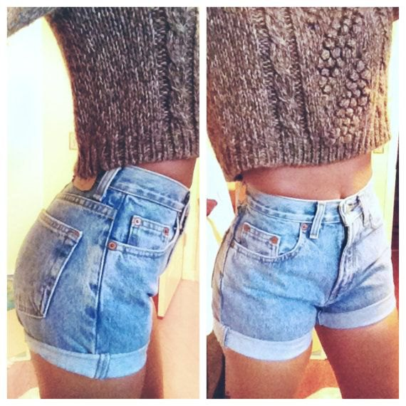 heather grey cropped knit sweater with light blue high waisted denim shorts