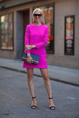 hot pink long sleeve mini sheath dress with navy sandals