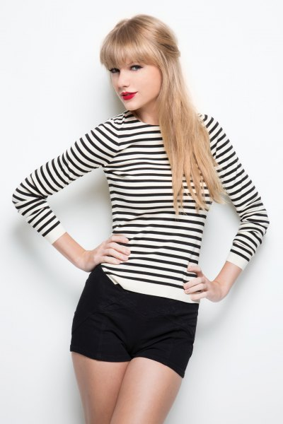 long sleeve striped black and white top with mini shorts