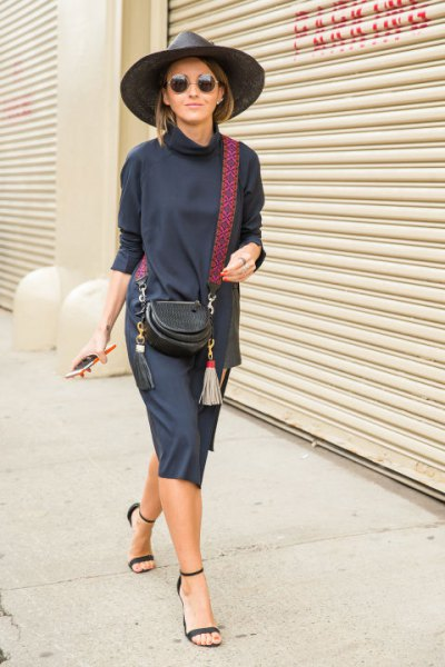 mock neck blue sweater dress with navy heeled sandals