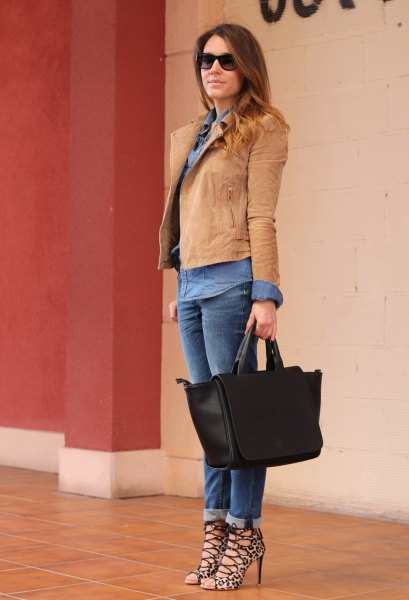 orange blazer with blue chambray shirt and blue cuffed jeans