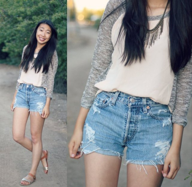 pale pink chiffon top with heather grey cardigan and blue mini denim shorts