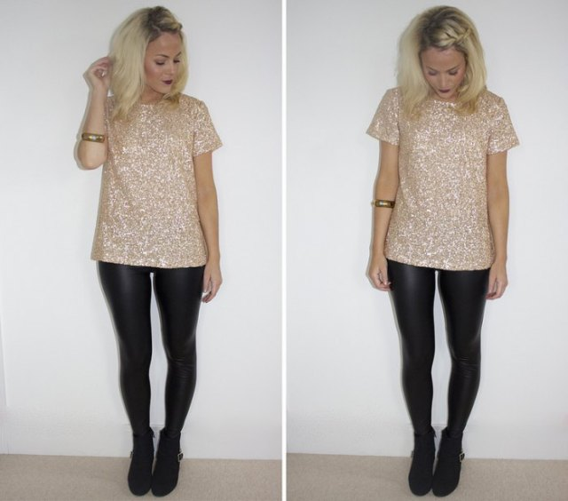pink and silver sequin t shirt with black leather leggings