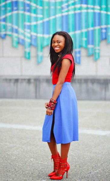 red cap sleeve tee with sky blue midi flared dress