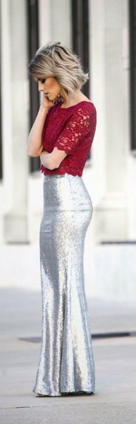 red lace crop top with silver mermaid skirt