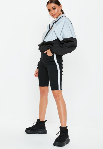 white and black color block windbreaker with mini shorts