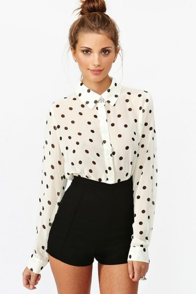 white and black polka dot shirt with high rise mini shorts