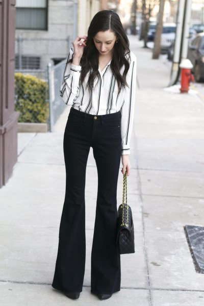 white and black striped button up shirt with flared pants