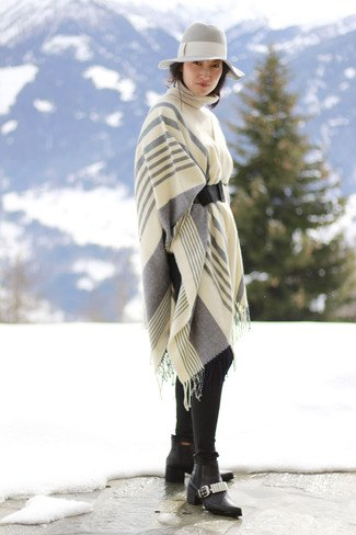 white and grey striped knit shawl with floppy hat