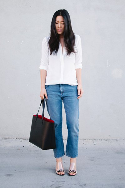 white button up shirt with cropped jeans and pink open toe leather sandals
