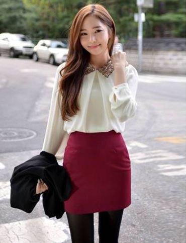 white chiffon blouse with burgundy mini bodycon skirt