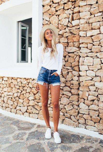 white long sleeve tee with blue denim mini shorts