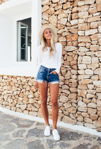 white long sleeve tee with blue denim mini shorts