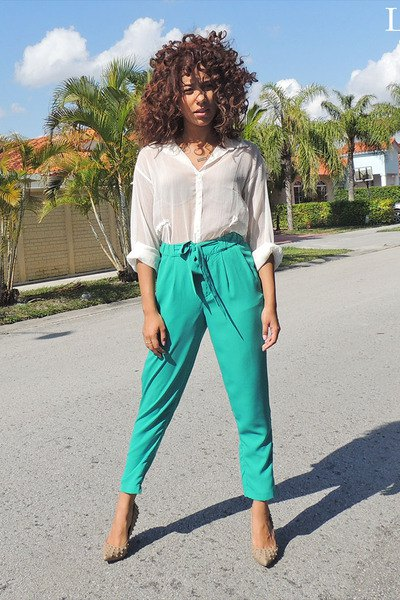 white semi sheer blouse with grey high waisted cropped chinos