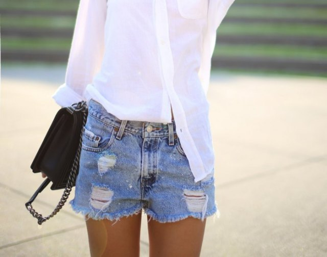 white slim fit shirt with light blue high waisted distressed denim shorts