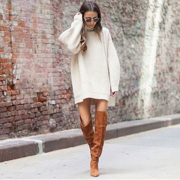 white turteneck mini ribbed straight cut sweater dress with camel thigh high boots