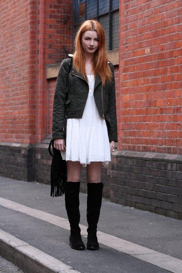 black dress knee high boots