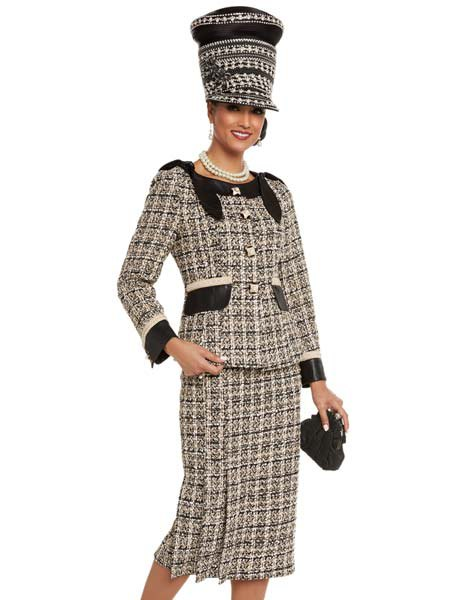 black and pale yellow plaid tweed church suit with matching hat