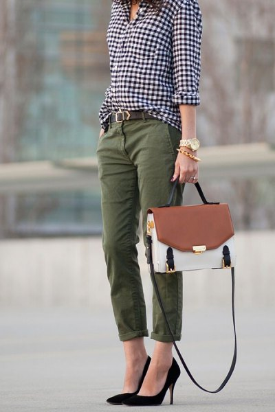 black and white checkered shirt with cuffed chinos and ballet heels