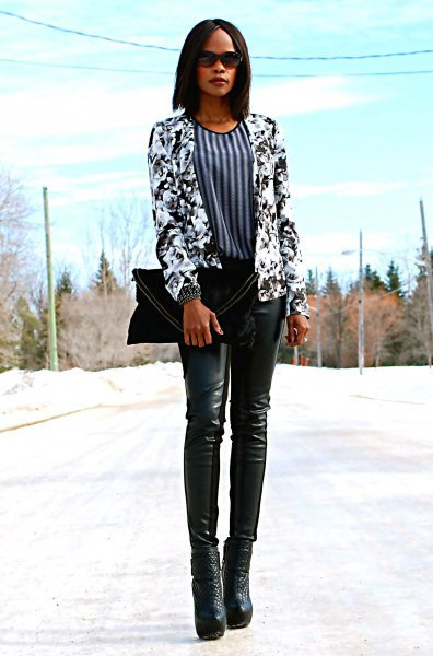 black and white floral printed blazer with vertical striped blouse
