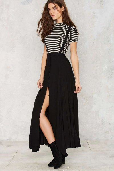 black and white striped mock neck tee with maxi suspender side slit skirt