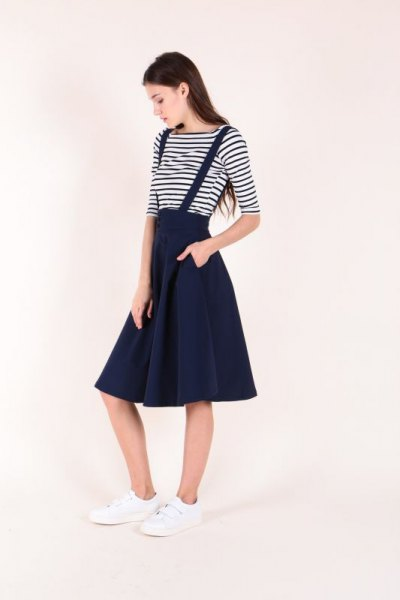 black and white striped t shirt with midi suspender skater skirt