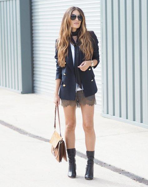 black blazer with grey mini scalloped hem lace shorts