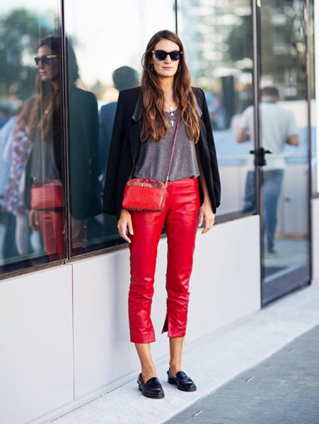 black blazer with grey tee and red leather cropped pants