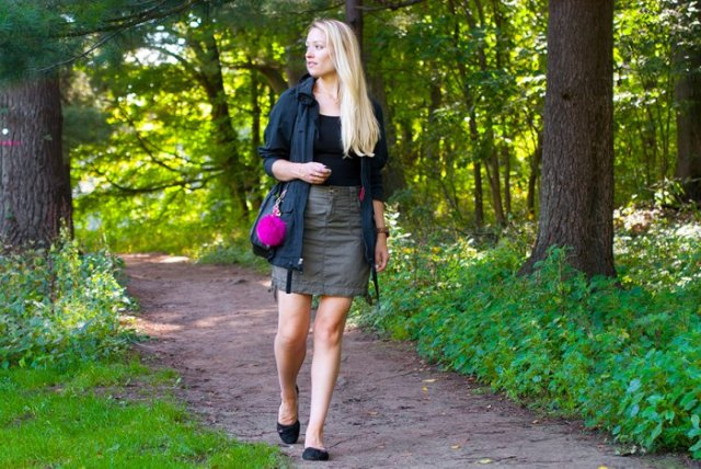 black casual jacket with grey mini skirt